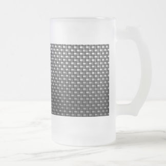 Detailed Carbon Fiber Textured Frosted Glass Beer Mug