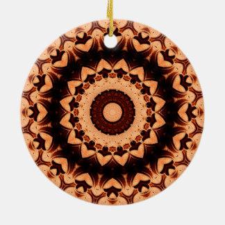 "Detailed ""Chocolate Hearts"" Mandala Ceramic Ornament"