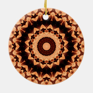 "Detailed ""Chocolate Hearts"" Mandala Double-Sided Ceramic Round Christmas Ornament"