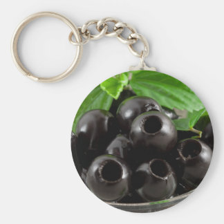 Detailed close-up view of the black olives keychain