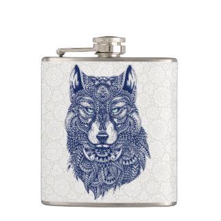 Detailed Dark Blue Wolf Head Illustration Hip Flask