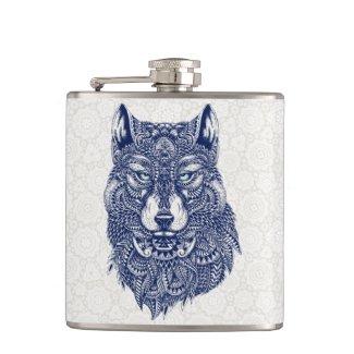 Detailed Dark Blue Wolf Head Illustration Hip Flasks