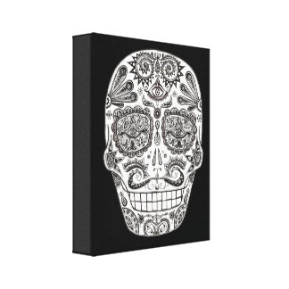 Detailed Day of the Dead Skull Art on Canvas
