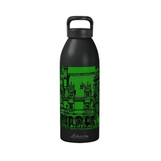 Detailed drawing green reusable water bottle