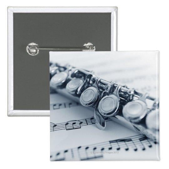 Detailed Flute Pinback Button