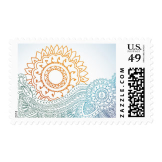 Detailed henna abstract sunrise postage