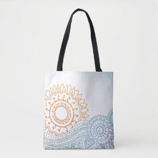 Detailed henna abstract sunrise tote bag