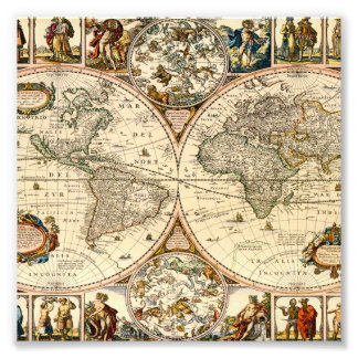 Detailed Historic Map Photo Print