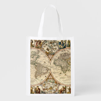 Detailed Historic Map Reusable Grocery Bags
