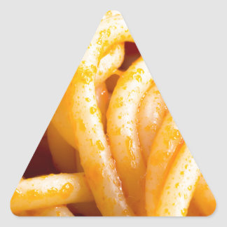 Detailed macro view on cooked spaghetti with sauce triangle sticker