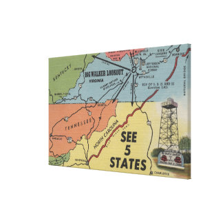 Detailed Map of 5 States - Big Walker Lookout, V Stretched Canvas Print