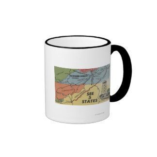Detailed Map of 5 States - Big Walker Lookout, V Coffee Mugs