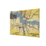 Detailed Map of Norfolk-Portsmouth Bridge Tunnel Stretched Canvas Print