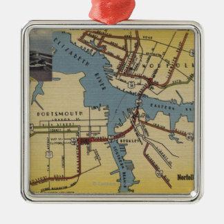 Detailed Map of Norfolk-Portsmouth Bridge Tunnel Metal Ornament