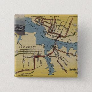 Detailed Map of Norfolk-Portsmouth Bridge Tunnel Pinback Button