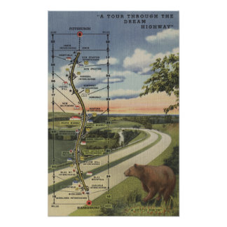 """Detailed Map of the """"Dream Highway"""" Poster"""