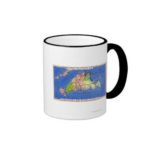 Detailed Map of the Island Ringer Coffee Mug