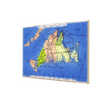 Detailed Map of the Island Stretched Canvas Print