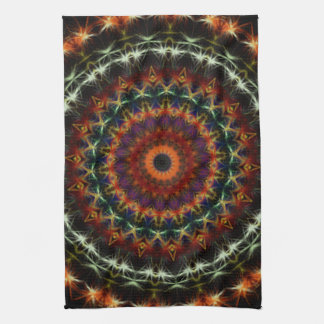 Detailed Orange Earth Mandala kitchen tea towel