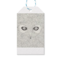 Detailed owl illustration in black and white gift tags