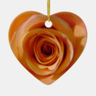 Detailed Peach Pink Rose Ceramic Ornament
