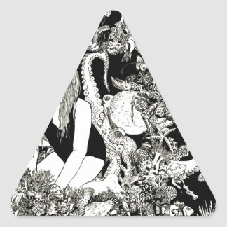 Detailed Pen and Ink Ocean Scene Triangle Sticker