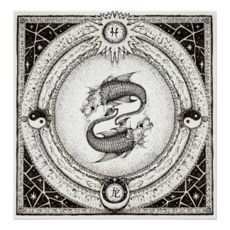 Detailed Pisces-Dragon Poster