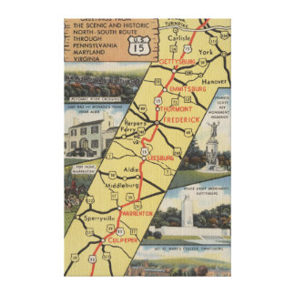 Detailed Postcard of Route 15 Canvas Print
