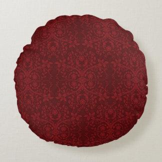 Detailed Red Floral Wallpaper Round Pillow