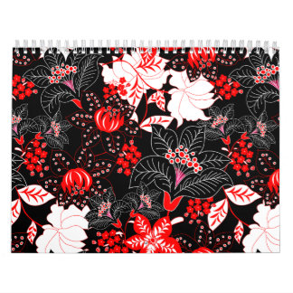 Detailed red tropical floral calendar