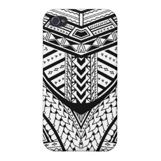 Detailed Samoan tribal tattoo pattern iPhone 4 Covers