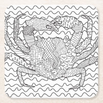 Detailed Sea Crab Doodle Square Paper Coaster
