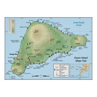 Detailed Topographic Map of Easter Island Poster