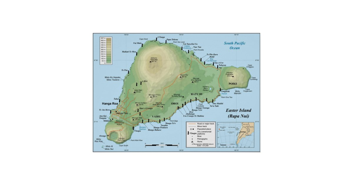 Detailed Topographic Map Of Easter Island Poster Zazzlecom - Easter island map