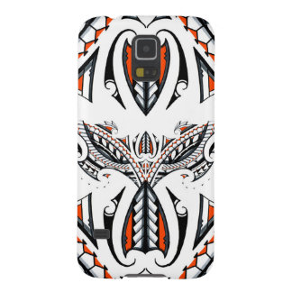 Detailed tribal maori polynesian orange pattern case for galaxy s5