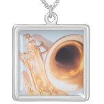 Detailed Trumpet 2 Square Pendant Necklace