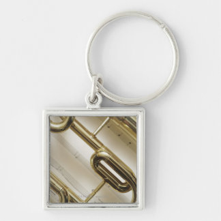 Detailed Trumpet Silver-Colored Square Keychain