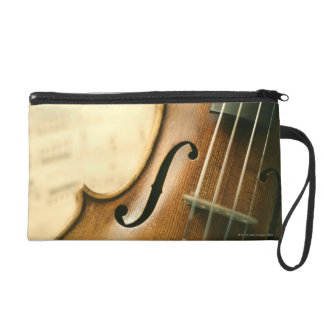 Detailed Violin Wristlet Purse