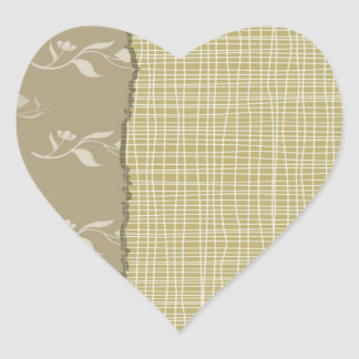 Detailed White Threads on Pale Green Fabric Look Heart Sticker