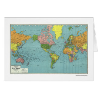 Detailed WWII World Map 1942 Greeting Cards