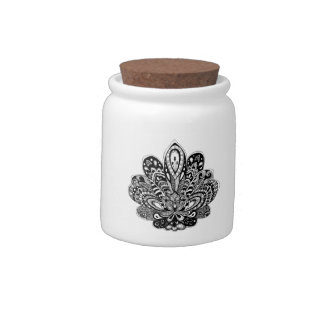 Detailed zendoodle Lotus Candy Jar