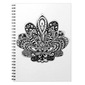 Detailed zendoodle Lotus Notebook