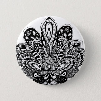 Detailed zendoodle Lotus Pinback Button