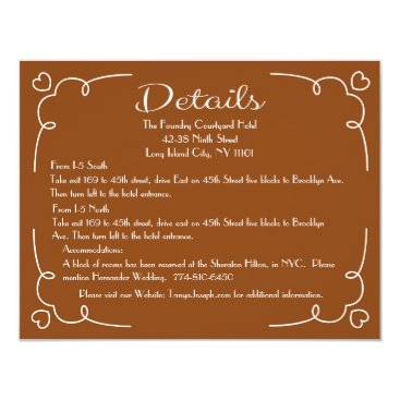 Professional Business Details Directions  Brown & White Heart Card