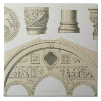 Details of a sculptured arch and columns from St. Ceramic Tile