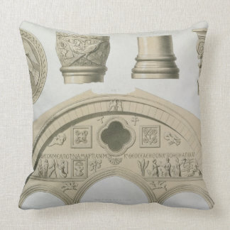 Details of a sculptured arch and columns from St. Throw Pillow