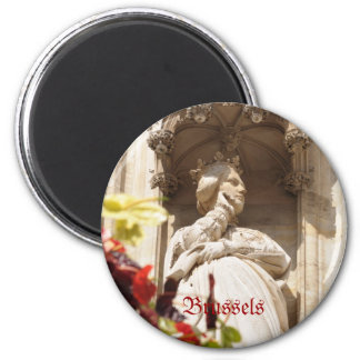 Details of architecture of Grand Place in Brussels 2 Inch Round Magnet