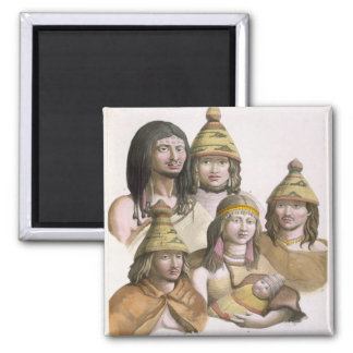 Details of headdresses in North West America colo Refrigerator Magnet