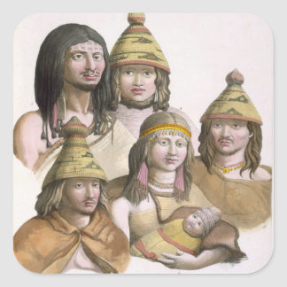 Details of headdresses in North West America (colo Square Sticker