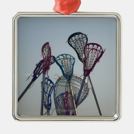 Details of Lacrosse game Square Metal Christmas Ornament